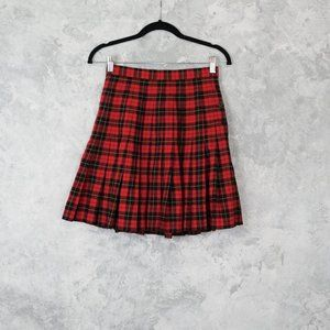 Vintage GAP Pleated Red Plaid Skirt Size 5/6